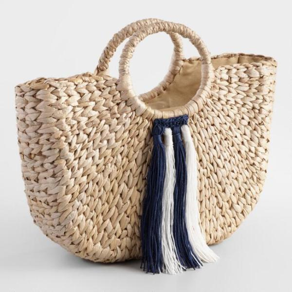 NAVY BLUE AND WHITE TASSEL TOTE BAG