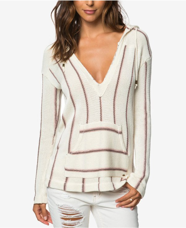' ASH HOODED STRIPED SWEATER