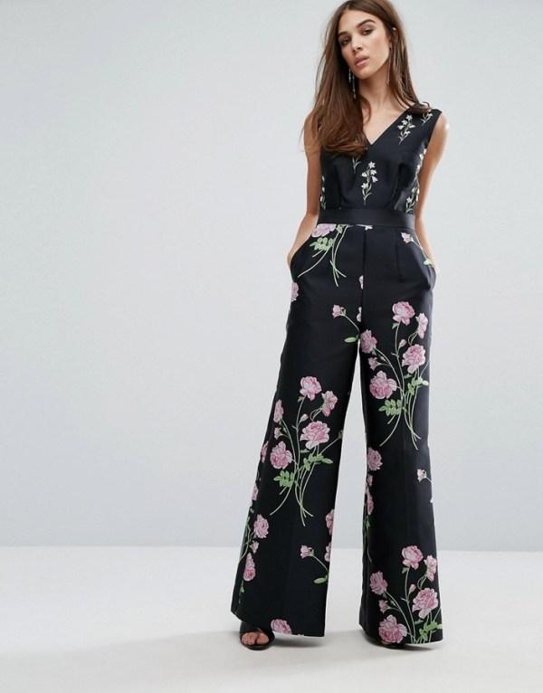 Warehouse Floral Print Jacquard Jumpsuit