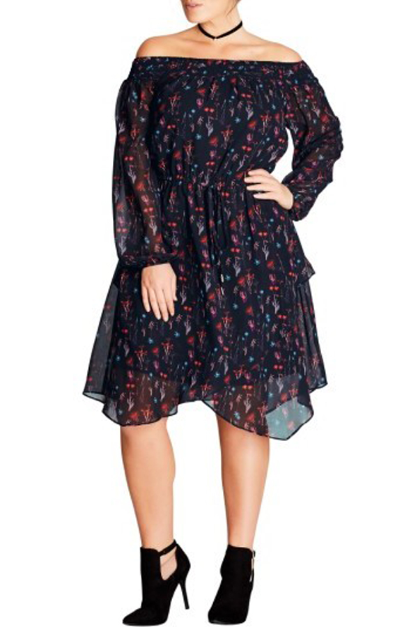 City Chic Dark Botanical Off The Shoulder Dress