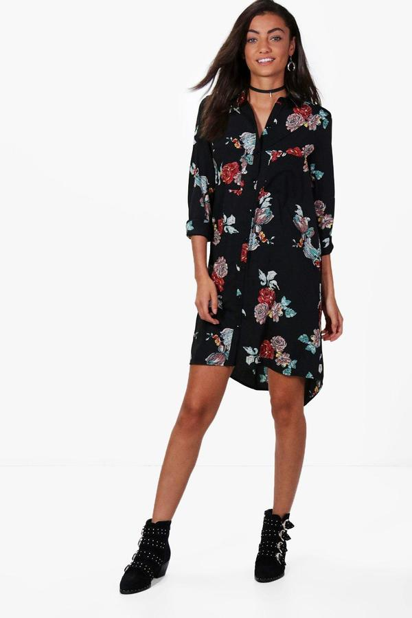 boohoo Tall Kylie Dark Floral Shirt Dress