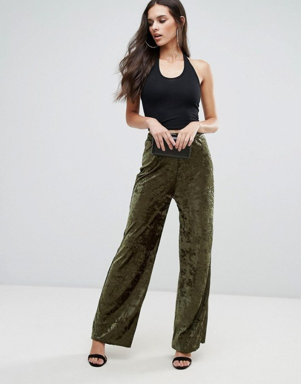 Love Crushed Velvet Wide Leg Pant