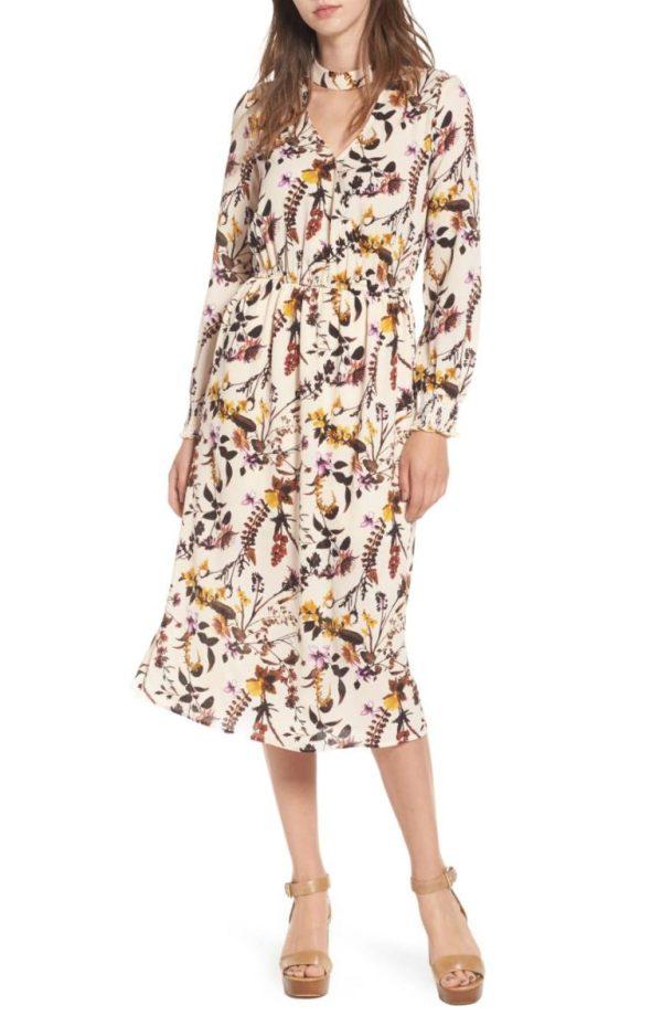 Love Fire Gigi Floral Surplice Midi Dress
