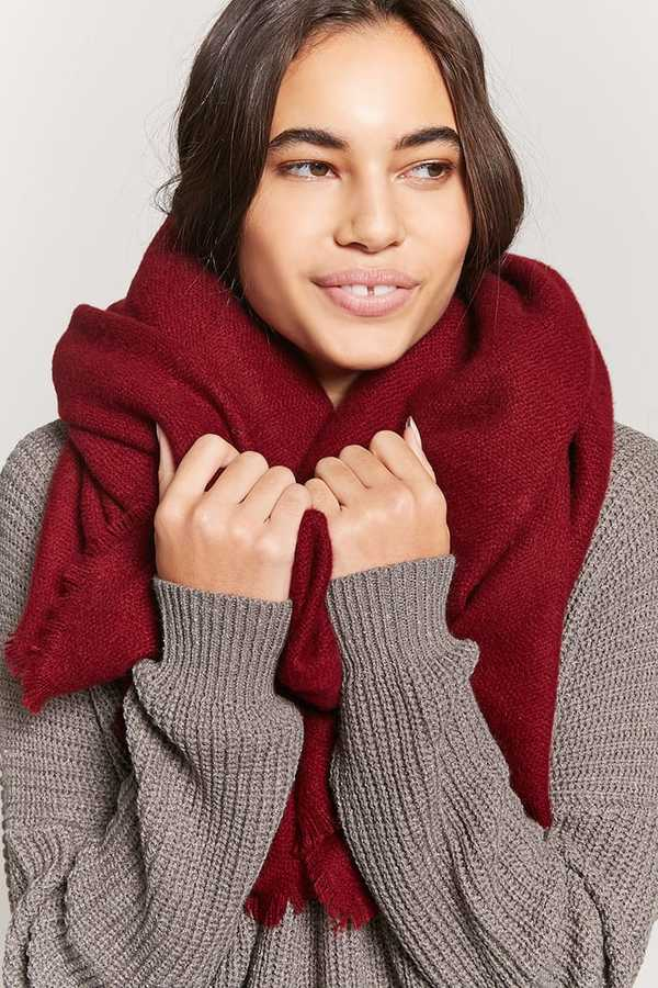 FOREVER 21 Fringed Oblong Scarf-burgundy