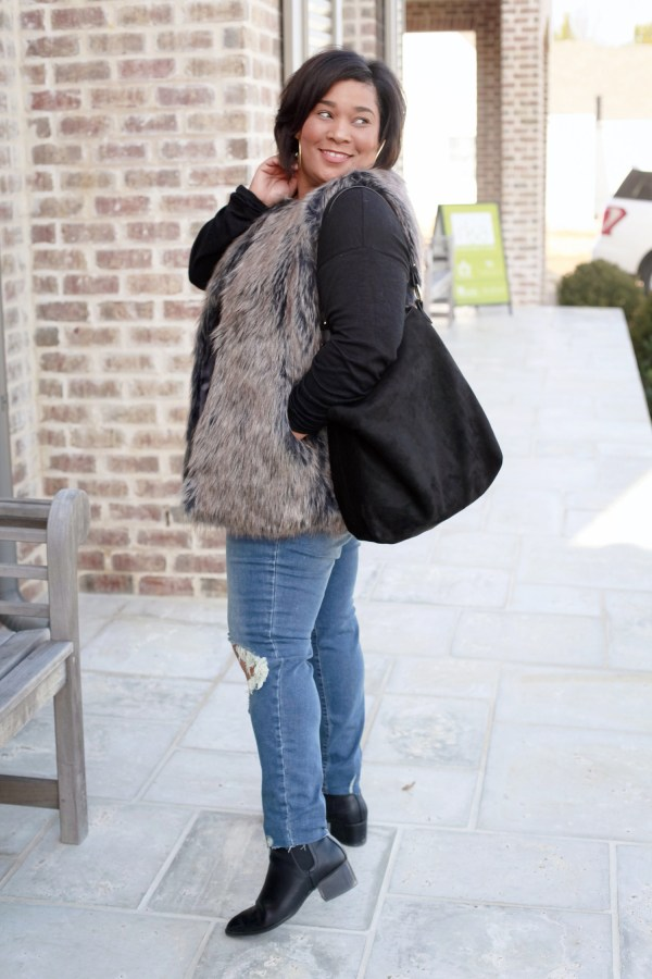 Faux Fur Vest + Distressed Denim