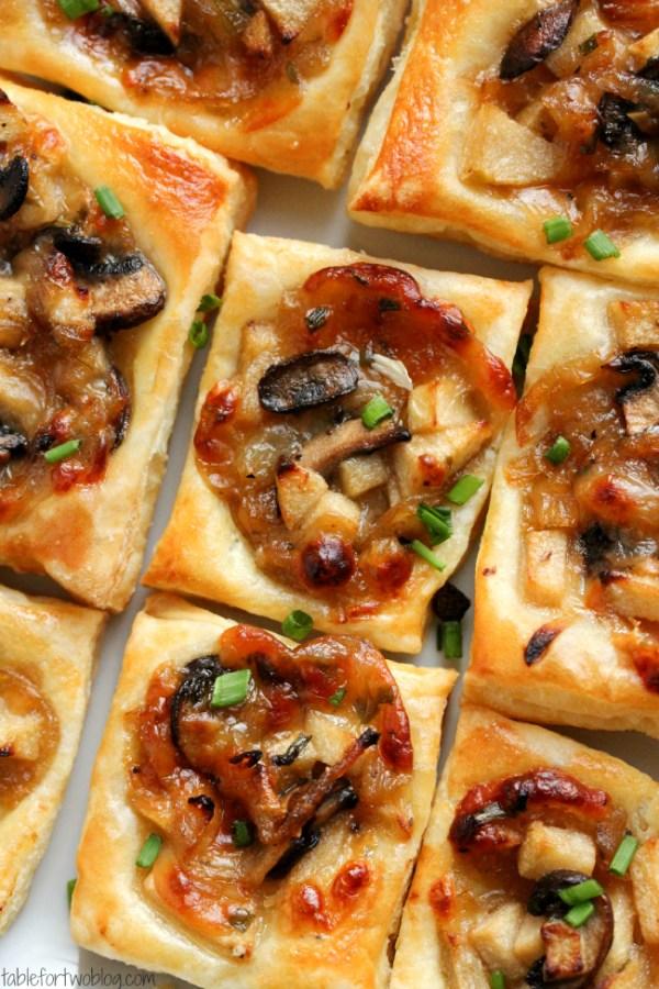 Carmelized Onion Mushroom Gruyere Bites