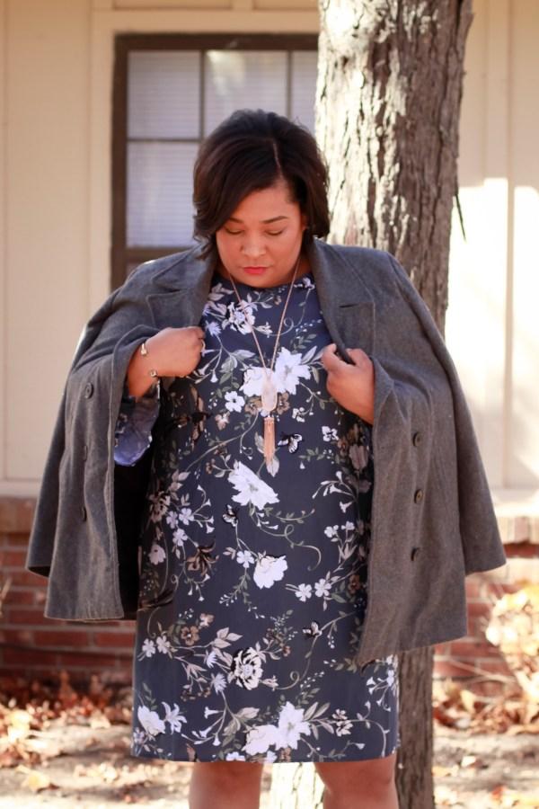 bell-sleeve floral dress