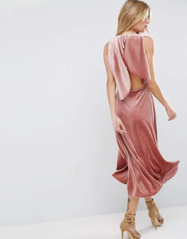 ASOS Velvet Metallic Drape Open Back Midi Dress
