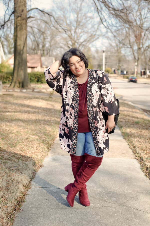 Floral kimono and thigh high boots trend