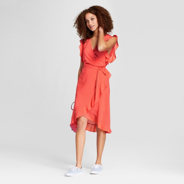 A New Day Women's Short Sleeve Ruffle Wrap Dress