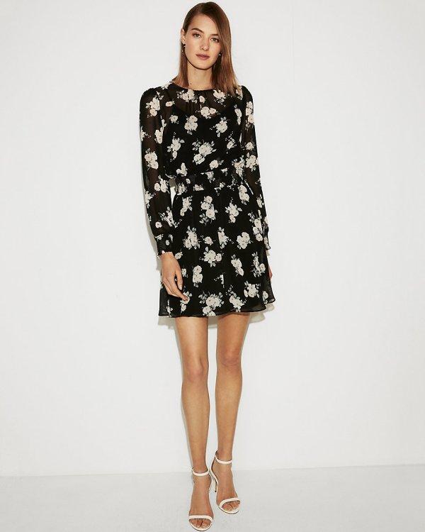 Express floral smocked waist long sleeve dress