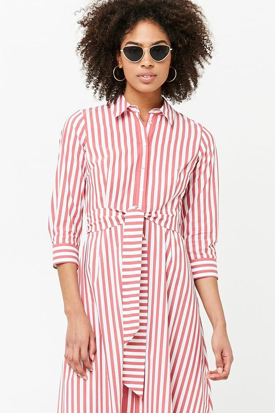 Forever 21 Striped Maxi Shirt Dress2