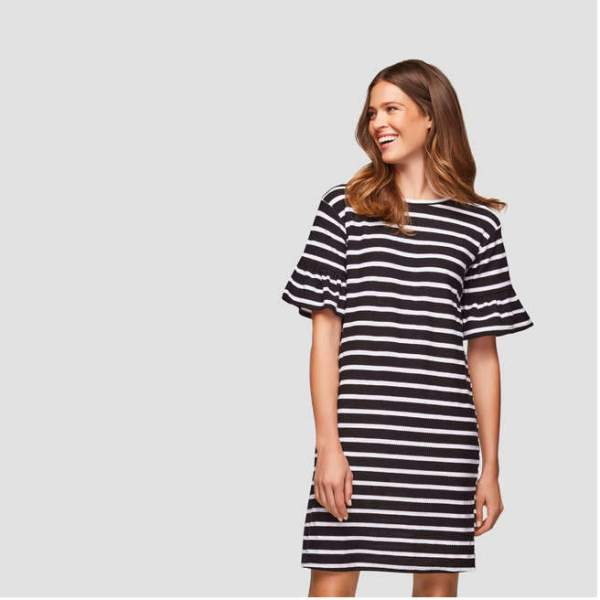 Joe Fresh Flutter Sleeve Stripe Dress