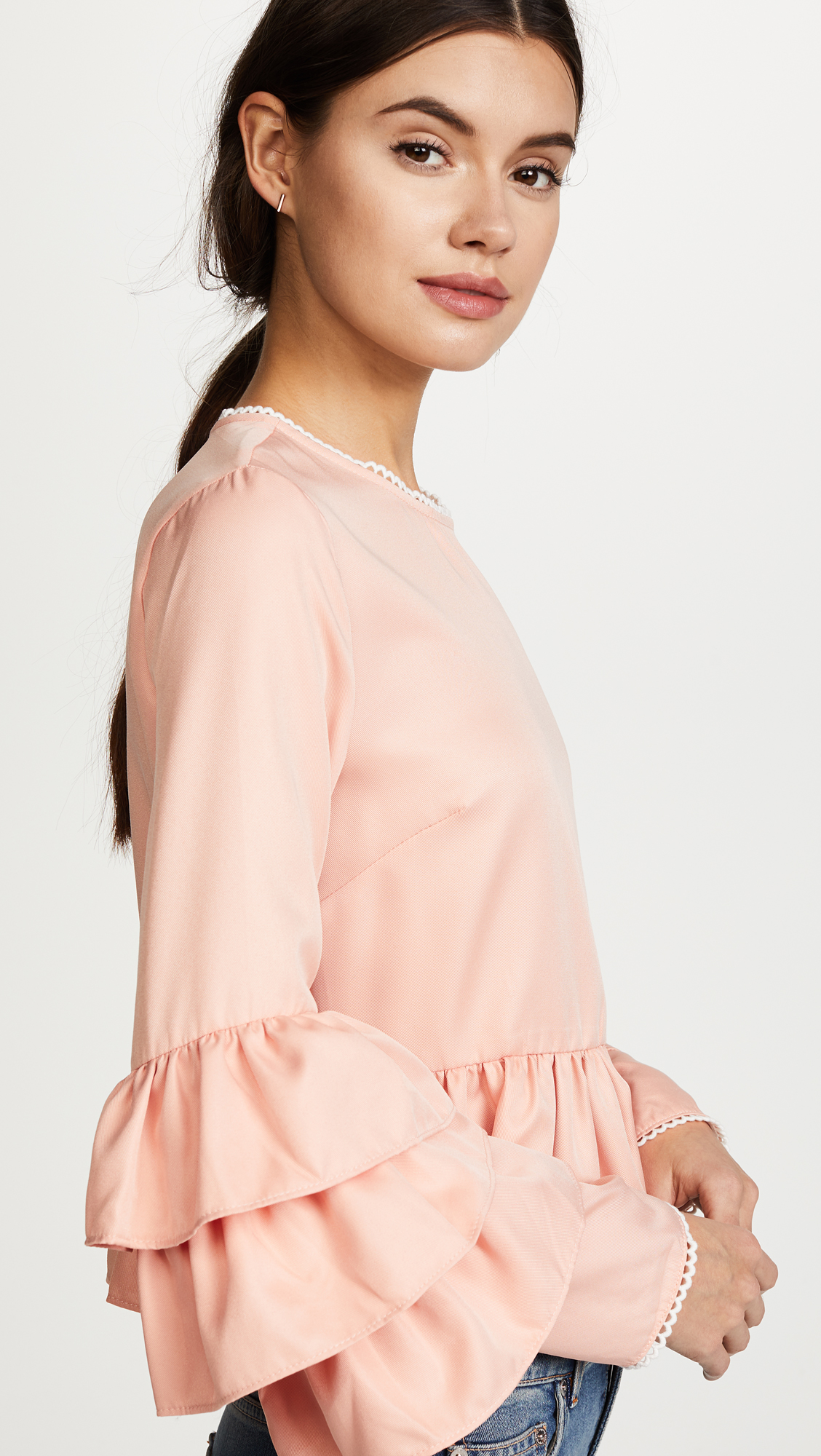 Endless Rose Tiered Ruffle Sleeve Peplum Blouse