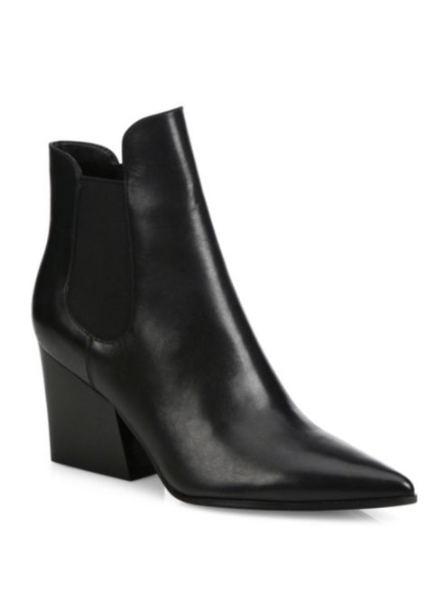 Kendall + Kylie Finley Leather Point-Toe Block-Heel Booties