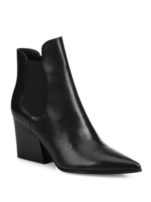 Kendall + Kylie Finley Leather Point-Toe Block-Heel Booties