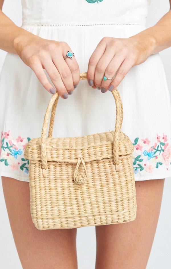 Pamela V ~ Florence Mini Straw Bag ~ Natural