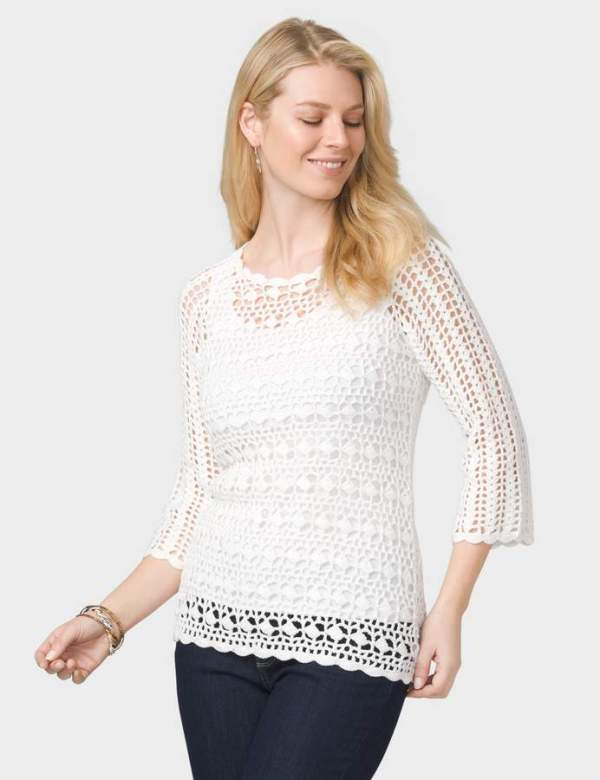 dressbarn Scalloped Crochet Sweater