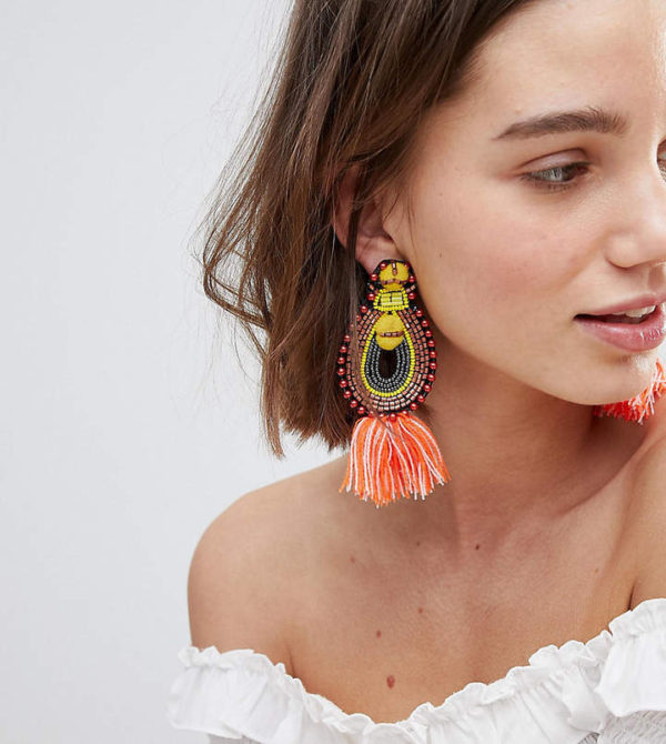 Glamorous Tassel & Bead Statement Earrings