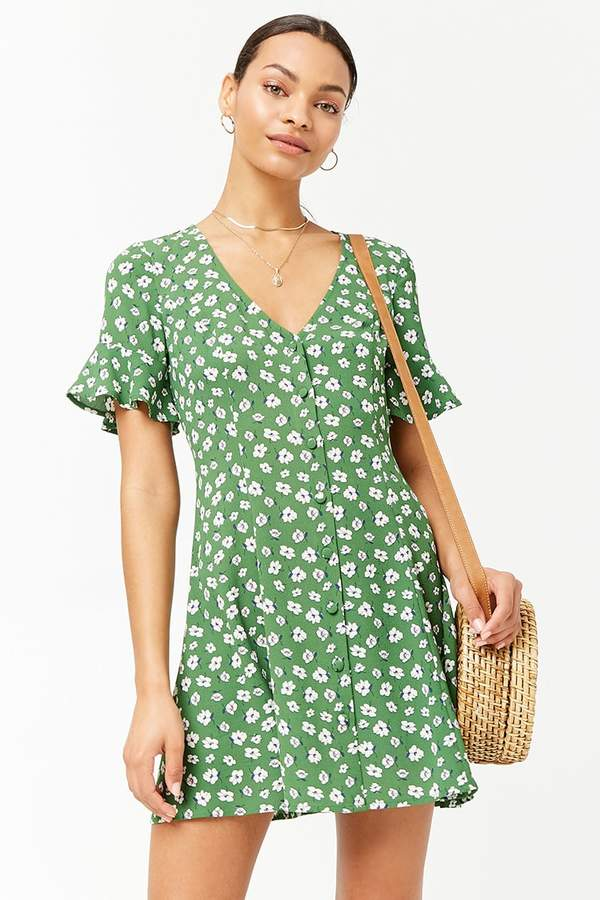 Floral Crepe Swing Dress