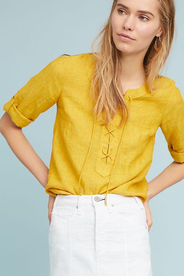 Linen Lace-Up Blouse
