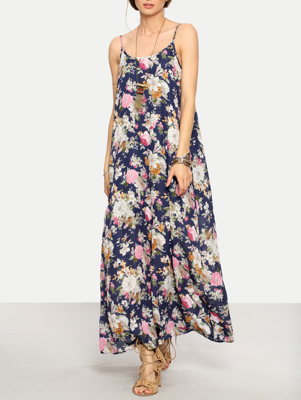 SHEIN Cami Straps Floral Print Maxi Dress