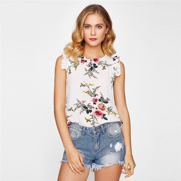 SHEIN Frilled Armhole Button Closure Back Shell Top