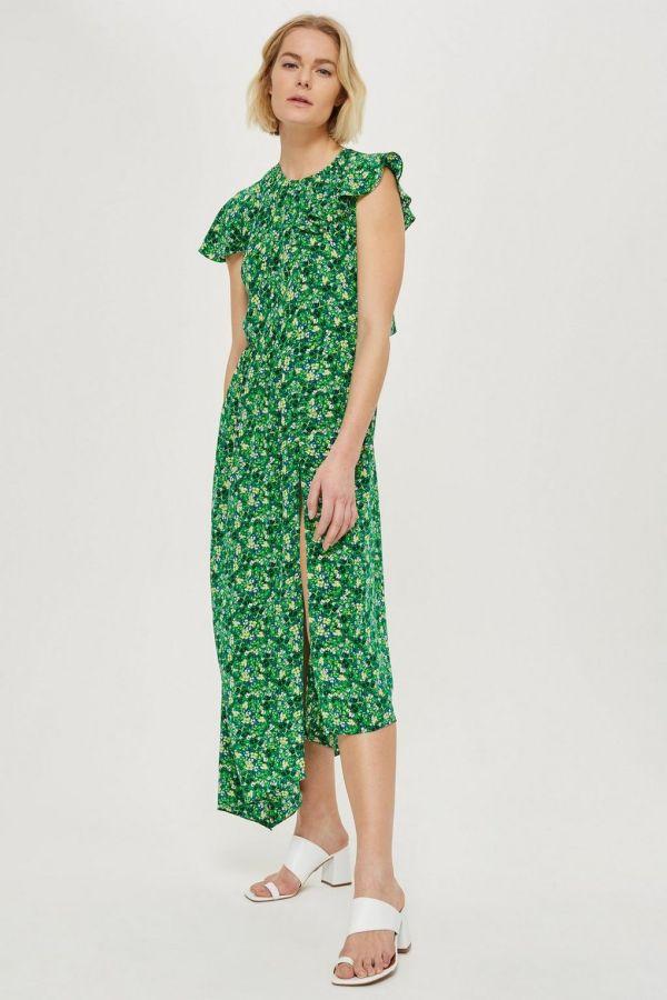 Topshop Ditsy Deconstructed Midi Dress