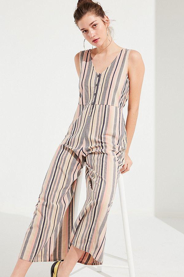 UO Sage Striped Button-Down Jumpsuit