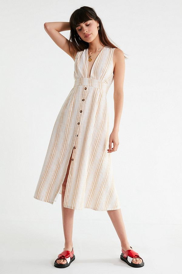 UO Millie Plunging Linen Midi Dress