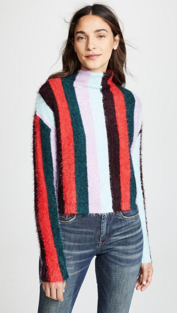 Blank Denim Multi Stripe Mock Neck Sweater