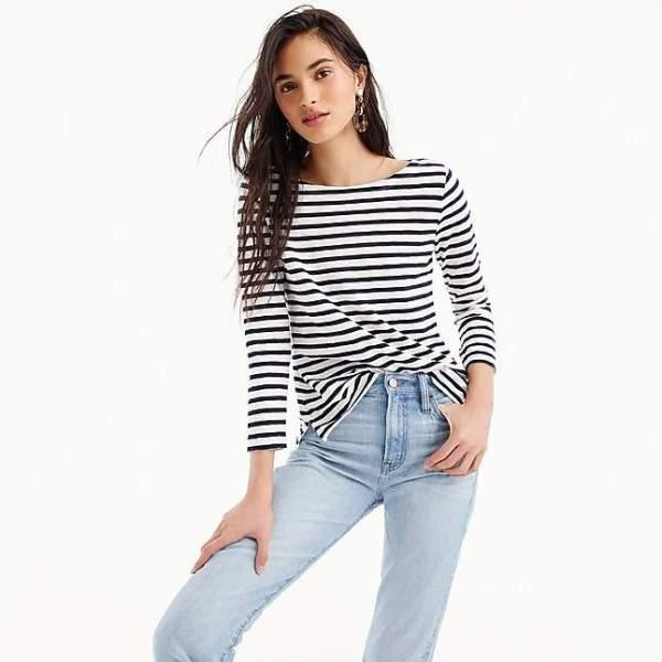 JCrew Striped Boatneck T-Shirt