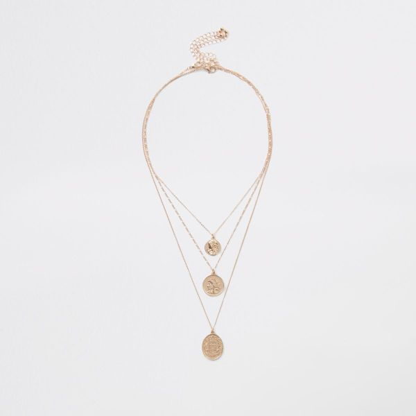 River Island Gold Tone Layered Coin Necklace