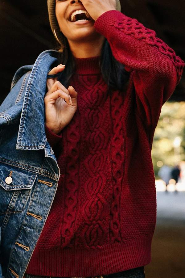 UO Austin Mock-Neck Cable Knit Sweater