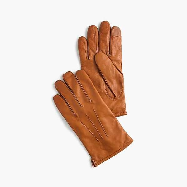 JCrew Leather Gloves with Cashmere Lining