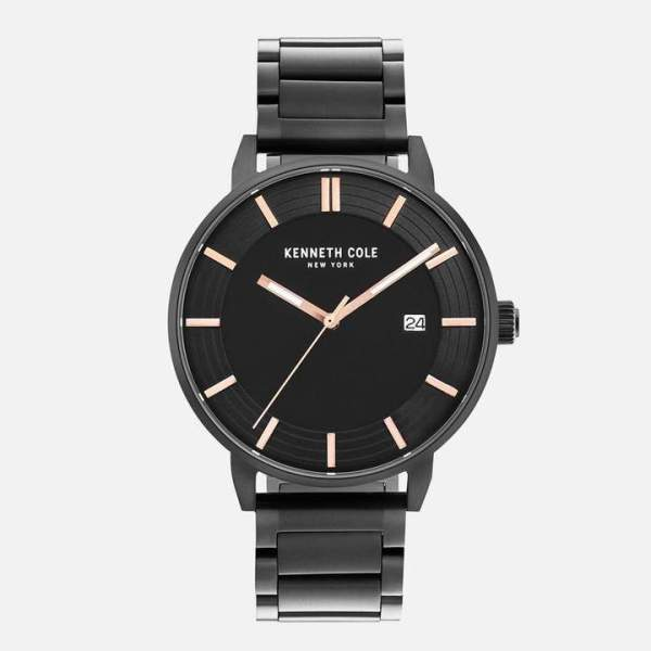 Kenneth Cole All Black Stainless Steel Watch with Rose Gold Details