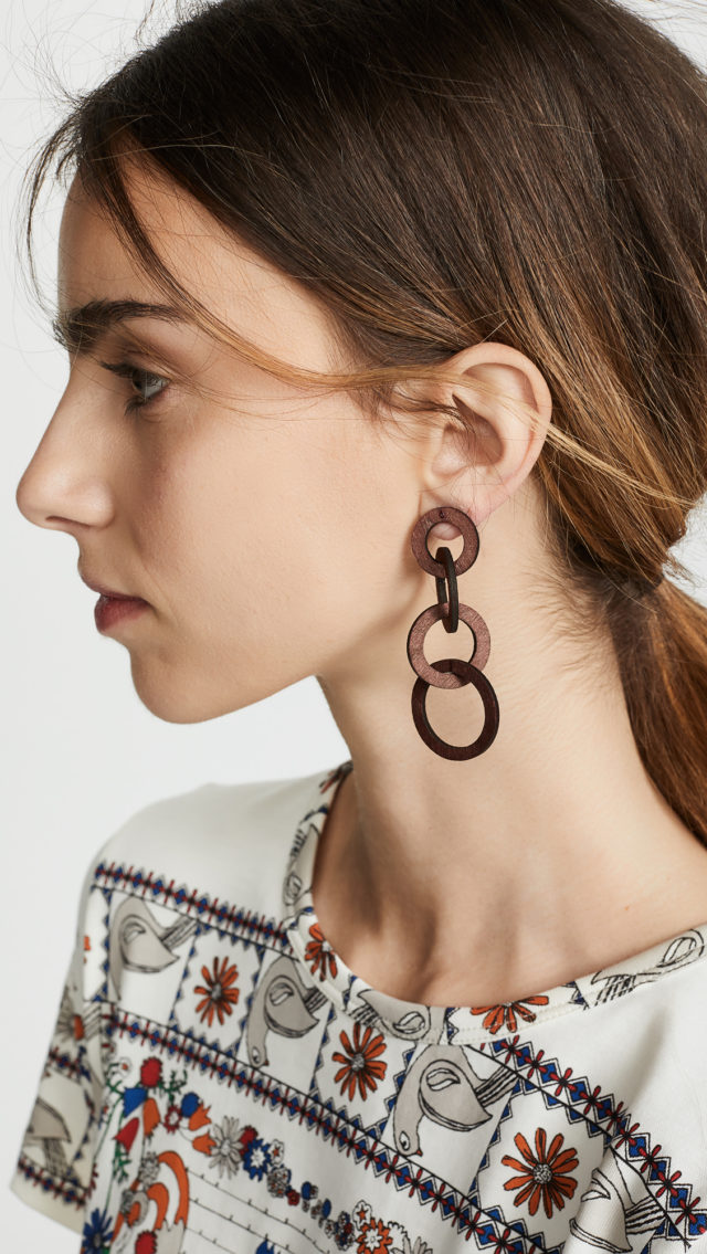 Kenneth Jay Lane Wood Earrings