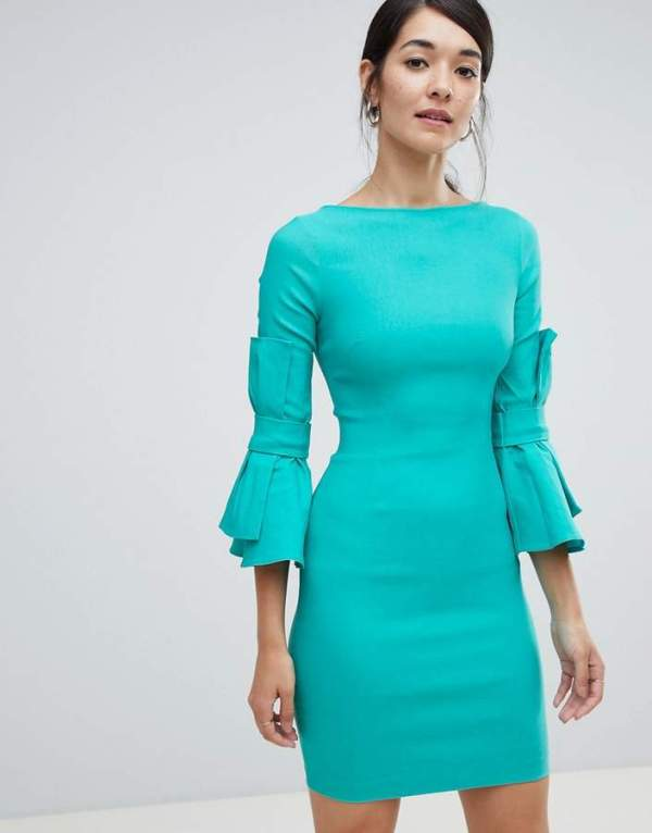 Vesper Pencil Dress With Bow Detail On Sleeve