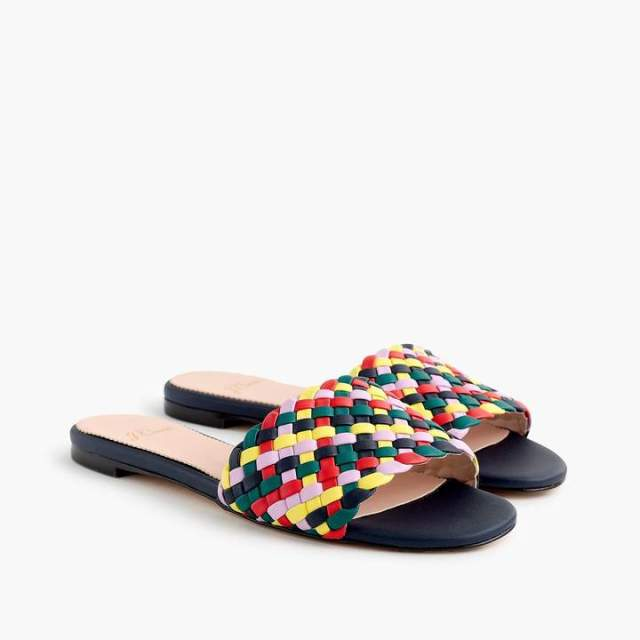 Cora Slide Sandals in Rainbow Check