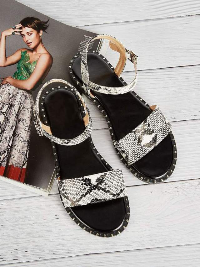 Snakeskin Pattern Flat Sandals