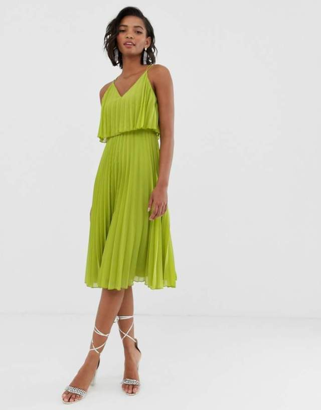 Asos Design Pleated Crop Top Midi Dress