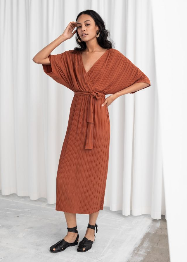 Belted Plissé Pleated Maxi Dress