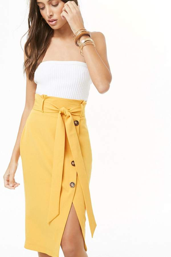 Forever 21 Belted Asymmetrical Button-Front Skirt