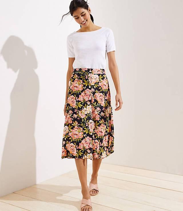 LOFT Floral Button Front Midi Skirt