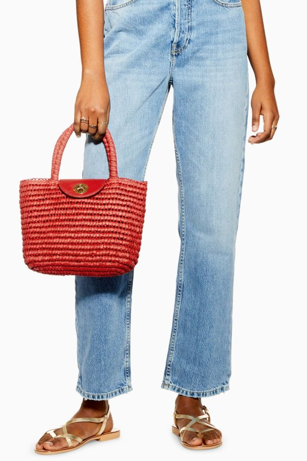 Topshop Red Finch Straw Mini Tote Bag