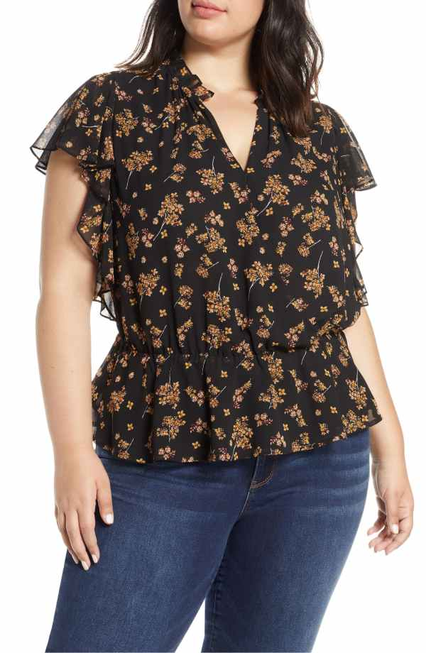 1.State Floral Print Faux Wrap Top