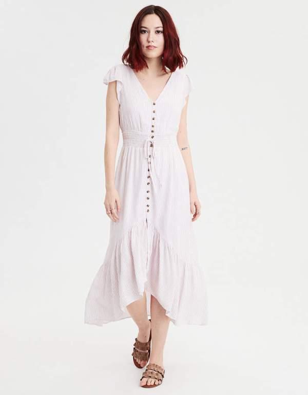 AE Hi-Low Striped Maxi Dress
