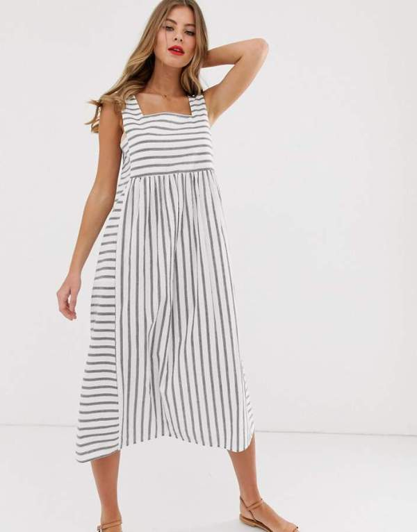 ASOS DESIGN Square Neck Textured Midi Smock Sundress