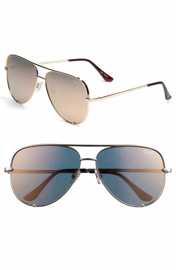 Quay AUstralia x Desi Perkins High Key 62mm Aviator Sunglasses