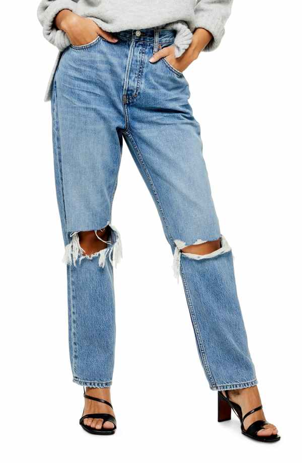 Topshop Ripped High Waist Dad Jeans